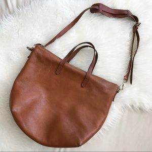 Madewell Zip Top Transport Tote in English Saddle